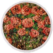 Round Beach Towel featuring the painting Dancing Red Roses by Laurie L