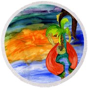 Round Beach Towel featuring the painting Dancing Tree Of Life by Mukta Gupta