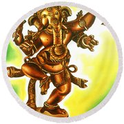 Dancing Vinayaga Round Beach Towel