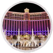 Dancing Waters - Bellagio Hotel And Casino At Night Round Beach Towel