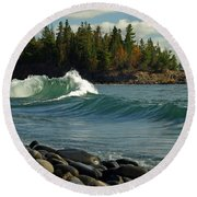 Round Beach Towel featuring the photograph Dancing Waves by James Peterson