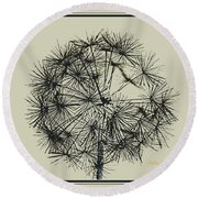 Round Beach Towel featuring the photograph Dandelion 6 by Kathy Barney
