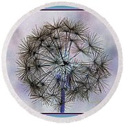 Round Beach Towel featuring the photograph Dandelion Blue And Purple by Kathy Barney