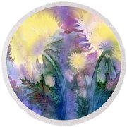 Round Beach Towel featuring the painting Dandelions by Teresa Ascone