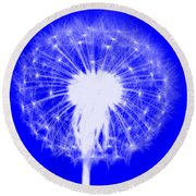 Round Beach Towel featuring the digital art Dandylion Blue by Clayton Bruster