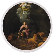 Daniel In The Den Of Lions Oil On Canvas Round Beach Towel