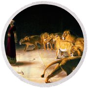 Round Beach Towel featuring the painting Daniel's Answer To The King by Celestial Images