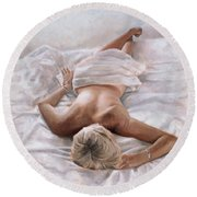 Dappled And Drowsy  Round Beach Towel