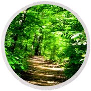 Dappled Sunlit Path In The Forest Round Beach Towel