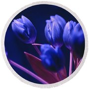 Dark Blue Tulips Round Beach Towel
