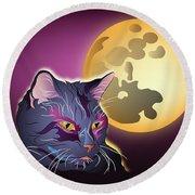 Dark Cat And Full Moon Round Beach Towel