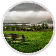 Dark Clouds Over Killarney Lakes Round Beach Towel