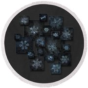 Round Beach Towel featuring the photograph Snowflake Collage - Dark Crystals 2012-2014 by Alexey Kljatov