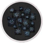 Snowflake Collage - Dark Crystals 2012-2014 Round Beach Towel by Alexey Kljatov