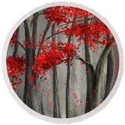 Dark Passion- Red And Gray Art Round Beach Towel