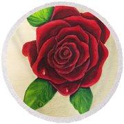 Dark Red Rose Round Beach Towel