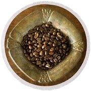 Dark Roast Coffee Beans And Antique Silver Round Beach Towel