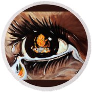 Round Beach Towel featuring the painting Dark Sorrow  by Jackie Carpenter