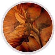 Round Beach Towel featuring the painting Dark Sunflower by Sorin Apostolescu