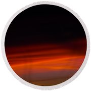 Dark Sunset Over A Mountain Peak Round Beach Towel