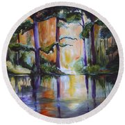 Round Beach Towel featuring the painting Dark Woods by Nadine Dennis