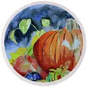 Round Beach Towel featuring the painting Darkening by Beverley Harper Tinsley