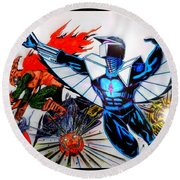 Darkhawk Vs Hobgoblin Focused Round Beach Towel