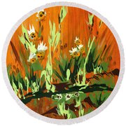 Round Beach Towel featuring the painting Darlinettas by Holly Carmichael