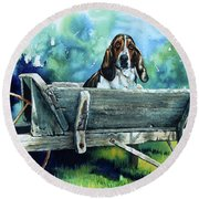 Round Beach Towel featuring the painting Darn Dog Days by Hanne Lore Koehler