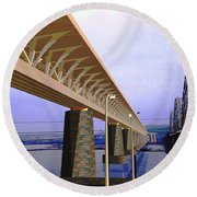 Darnitsky Bridge Round Beach Towel by Oleg Zavarzin