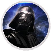 Round Beach Towel featuring the photograph Darth Vader by Aaron Berg