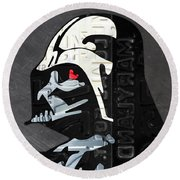 Darth Vader Helmet Star Wars Portrait Recycled License Plate Art Round Beach Towel