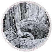 Round Beach Towel featuring the drawing Das Monster Hat Sich Im Ungebuegelten Hintergrund Versteckt by Otto Rapp