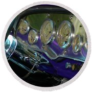 Round Beach Towel featuring the photograph Dashboard Glam by Christiane Hellner-OBrien