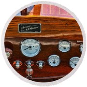 Dashboard In A Classic Wooden Boat Round Beach Towel