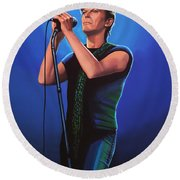 David Bowie 2 Painting Round Beach Towel