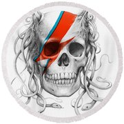 David Bowie Aladdin Sane Medusa Skull Round Beach Towel