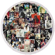 David Bowie Collage Round Beach Towel