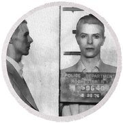 David Bowie Mug Shot Round Beach Towel