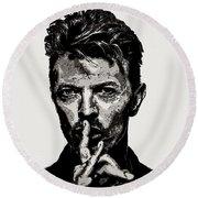 David Bowie - Pencil Round Beach Towel by Doc Braham