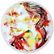 David Bowie Watercolor Portrait.1 Round Beach Towel