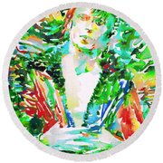 David Bowie Watercolor Portrait.2 Round Beach Towel