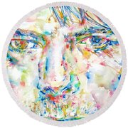 David Bowie Watercolor Portrait.4 Round Beach Towel