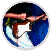 David On Guitar Round Beach Towel