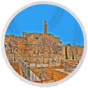 Round Beach Towel featuring the photograph Davids Citadel - Israel by Doc Braham