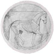 Da Vinci Horse Piaffe Grayscale Round Beach Towel