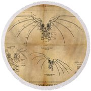 Davinci's Wings Round Beach Towel
