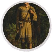 Round Beach Towel featuring the painting Davy Crockett by Celestial Images