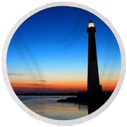 Dawn At Barnegat Light Round Beach Towel by James Kirkikis