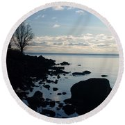 Round Beach Towel featuring the photograph Dawn At The Cove by James Peterson